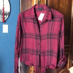 Women's rayon Burgundy button blouse size L NWOT
